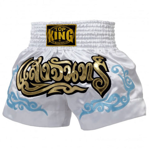 Top King Muaythai Boxing Shorts White With Blue Tattoo TKTBS-053