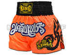 Top King Muay Thai Boxing Shorts Orange With Black Glister Kanok Pattern  TKTBS-055