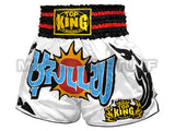 Top King Muay Thai Boxing Shorts White With Black & Red Kanok Pattern TKTBS-069