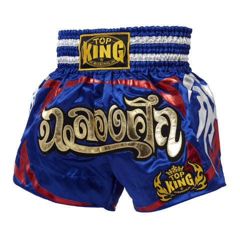 Top King Muaythai Boxing Shorts Navy Blue With Red Tattoo  TKTBS-080