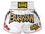 TOP KING Muay Thai Boxing Shorts White With Buakaw Text TKTBS-083