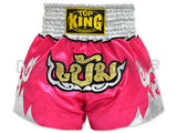 TOP KING Muay Thai Boxing Shorts Pink with Khem Text  TKTBS-084