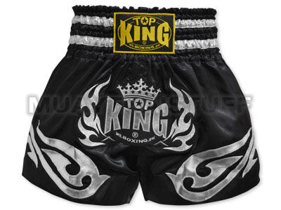 TOP KING Muay Thai Boxing Shorts Black with Silver TOP KING Logo TKTBS-094