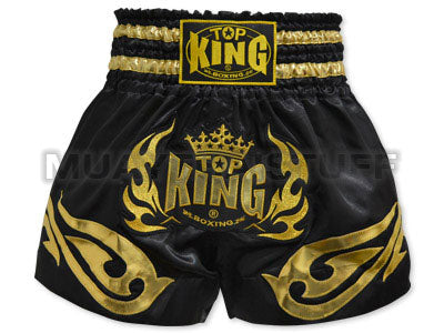 TOP KING Muay Thai Boxing Shorts Black with Golden TOP KING Logo TKTBS-095