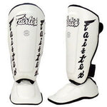 Fairtex Muay Thai Shin Guards Twisted Shin Pads White Syntek Leather SP7