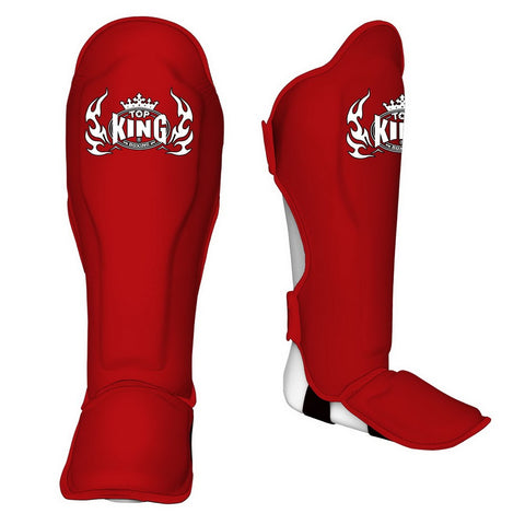"TOP KING Shin Guards ""Pro"" Genuine Leather Red Trim By Red TKSGP-GL"