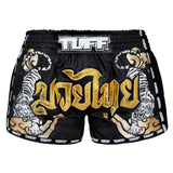 TUFF Muay Thai Boxing Shorts Black Retro Style Double Tiger With Gold Text