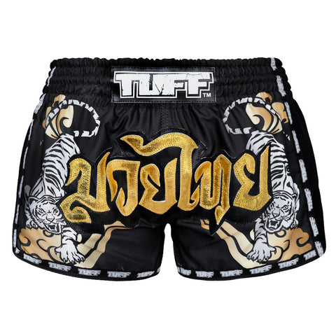 TUFF Muay Thai Boxing Shorts Black Retro Style Double Tiger With Gold Text TUF-MRS101