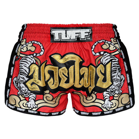 TUFF Muay Thai Boxing Shorts Red Retro Style Double Tiger With Gold Text TUF-MRS101