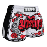 TUFF Muay Thai Boxing Shorts White Retro Style Double Tiger With Red Text