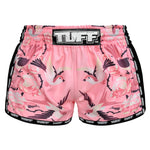 TUFF Muay Thai Boxing Shorts Pink Retro Style Birds With Roses