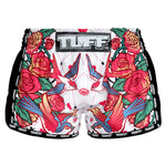 TUFF Muay Thai Boxing Shorts White Retro Style Rose With Birds