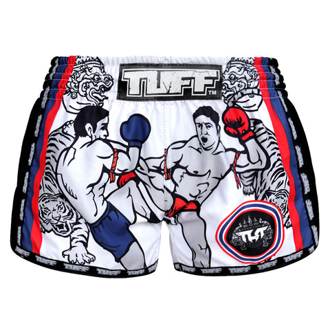 TUFF Muay Thai Boxing Shorts White Retro Style Double Tiger With Muay Thai Fighters