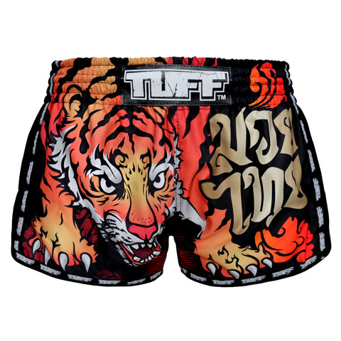 TUFF Muay Thai Boxing Shorts Black Retro Style With Cruel Tiger