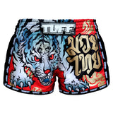 TUFF Muay Thai Boxing Shorts Red Retro Style With Cruel Tiger