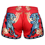 TUFF Muay Thai Boxing Shorts Red Retro Style With Cruel Tiger TUF-MRS104