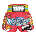 Custom TUFF Muay Thai Boxing Shorts Pink With Classic Rose