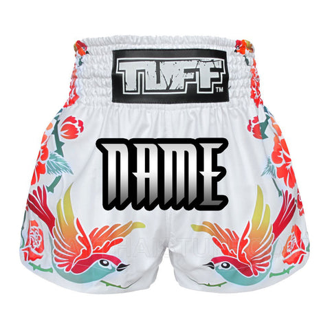 Custom TUFF Muay Thai Boxing White Shorts Birds And Roses Inspired by Ancient Drawing