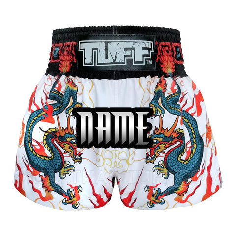 Custom TUFF Muay Thai Boxing Shorts Blue Dragon