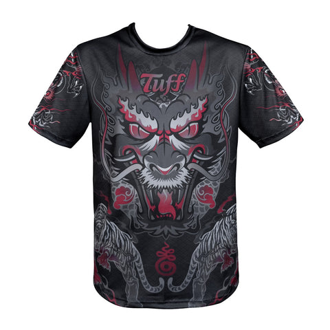 TUFF Muay Thai Shirt King of Dragon in Black TUF-TS004