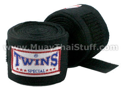 Twins Special Muay Thai Hand Wraps Solid Black CH1
