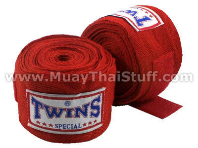 Twins Special Muay Thai Hand Wraps Solid Red CH1
