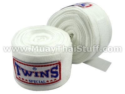 Twins Special Muay Thai Hand Wraps Solid White CH1