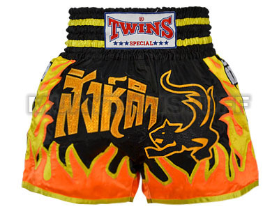 TWINS SPECIAL Muaythai Shorts Black Tiger with Orange Fire TWN-S010