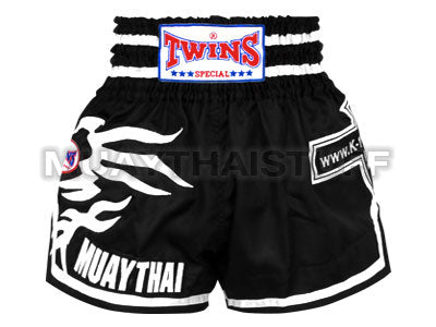 TWINS SPECIAL Muaythai Shorts Black 'K1 Fans' with White Graphic TWN-S202