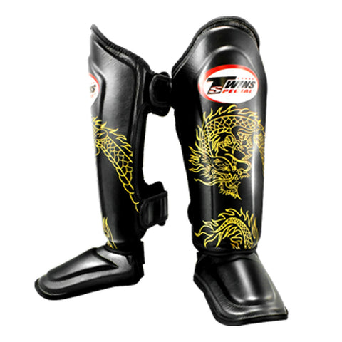Twins Special Fancy Shin Protection Black with Golden Dragon SGL10-6G