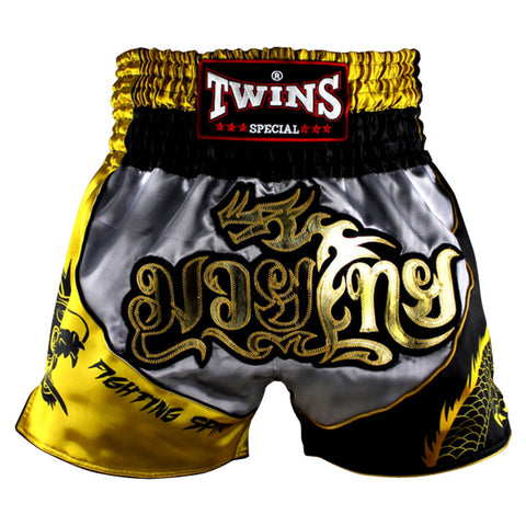 Twins Special Muaythai Shorts Sublimation Dragon Grey Black Yellow TBS-DRAGON-001