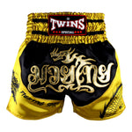 Twins Special Muaythai Shorts Sublimation Dragon Black Yellow TBS-DRAGON-002