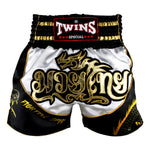 Twins Special Muaythai Shorts Sublimation Dragon White Black TBS-DRAGON-003