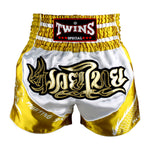 Twins Special Muaythai Shorts Sublimation Dragon White Yellow TBS-DRAGON-004