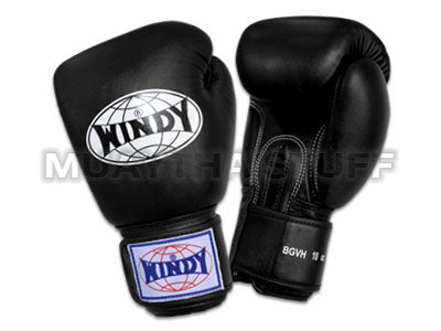 Windy Amateur Boxing Gloves Black  genuine leather  BGVH