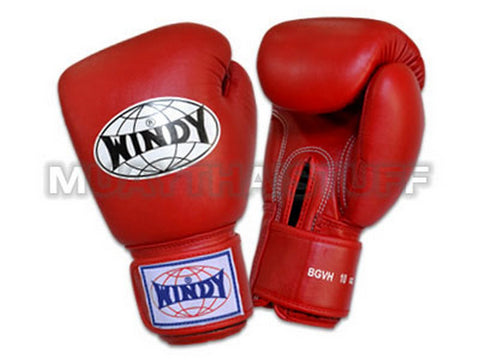 Windy Boxing Gloves Red genuine leather BGVH
