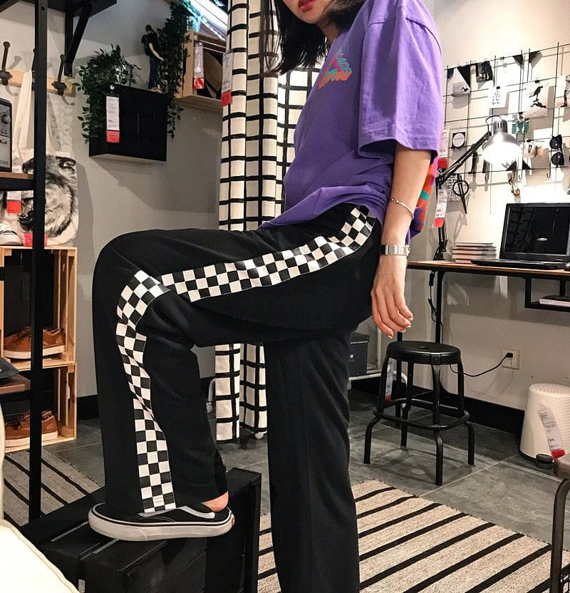 BLACK SIDE-CHECKERBOARD TROUSER - DIFTAS - Do It For The Aesthetics