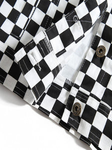 CHECKERBOARD CROPPED JACKET - Diftas