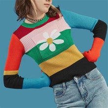 Load image into Gallery viewer, FLOWER KNITTED SWEATER