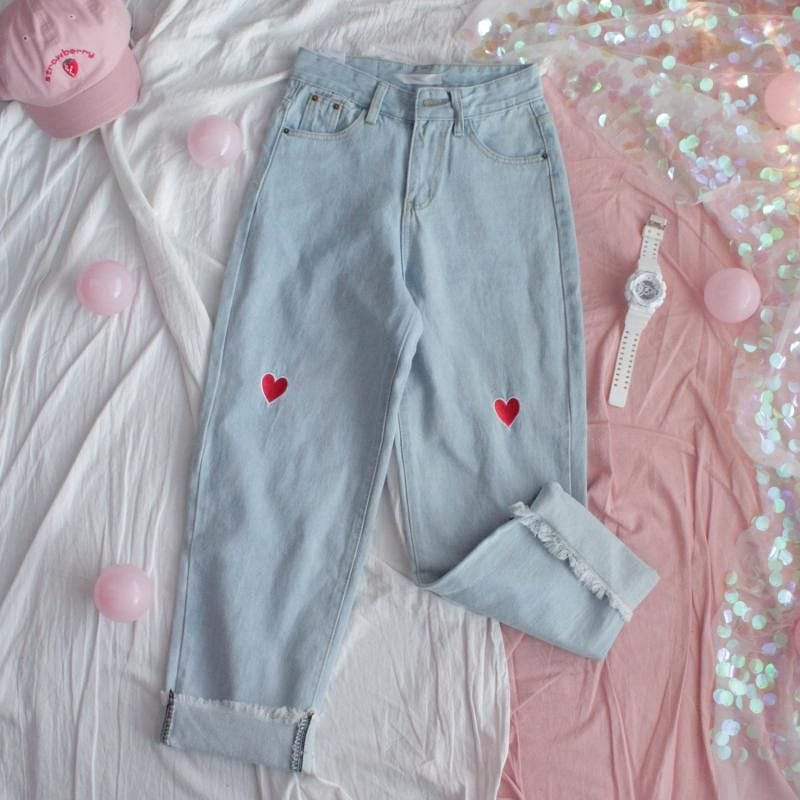 KAWAII HEART JEANS - DIFTAS - Do It For The Aesthetics