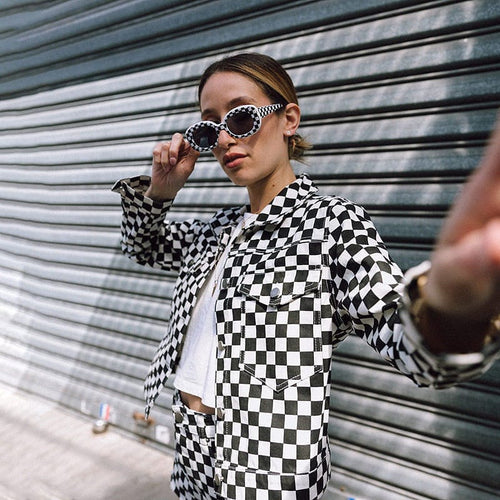 CHECKERBOARD CROPPED JACKET - DIFTAS - Do It For The Aesthetics