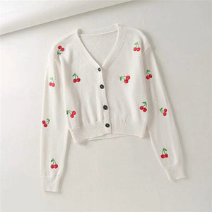 CHERRY CARDIGAN SWEATER