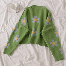 Load image into Gallery viewer, FLOWER CARDIGAN SWEATER