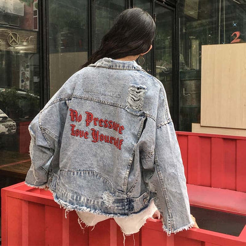 LOVE YOURSELF DENIM JACKET - DIFTAS - Do It For The Aesthetics