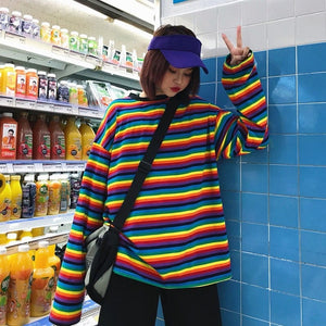 STRIPE RAINBOW FULL-SLEEVES TEE - DIFTAS - Do It For The Aesthetics
