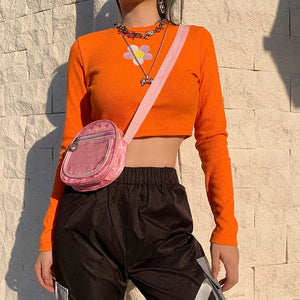 FLOWER ORANGE CROPTOP - DIFTAS - Do It For The Aesthetics