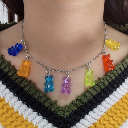 BEAR COLORFUL NECKLACE - DIFTAS - Do It For The Aesthetics