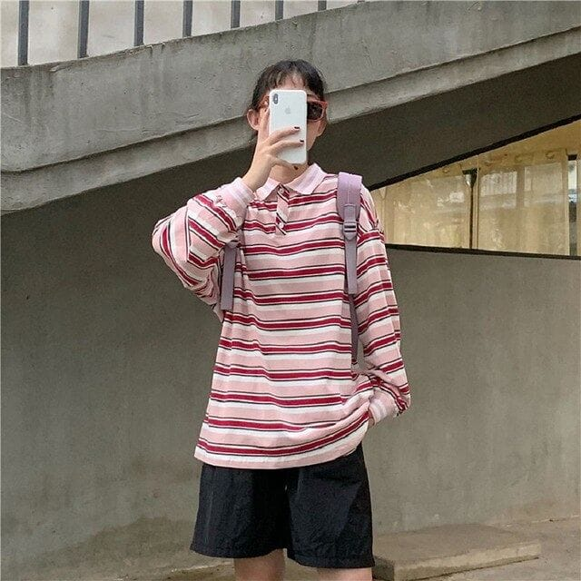 PINKY STRIPPY FULL-SLEEVES TEE - DIFTAS - Do It For The Aesthetics
