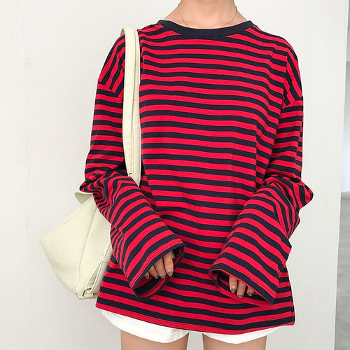 RED STRIPED FULL-SLEEVES T-SHIRT - DIFTAS - Do It For The Aesthetics