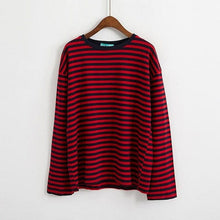 Load image into Gallery viewer, RED STRIPED FULL-SLEEVES T-SHIRT - Diftas